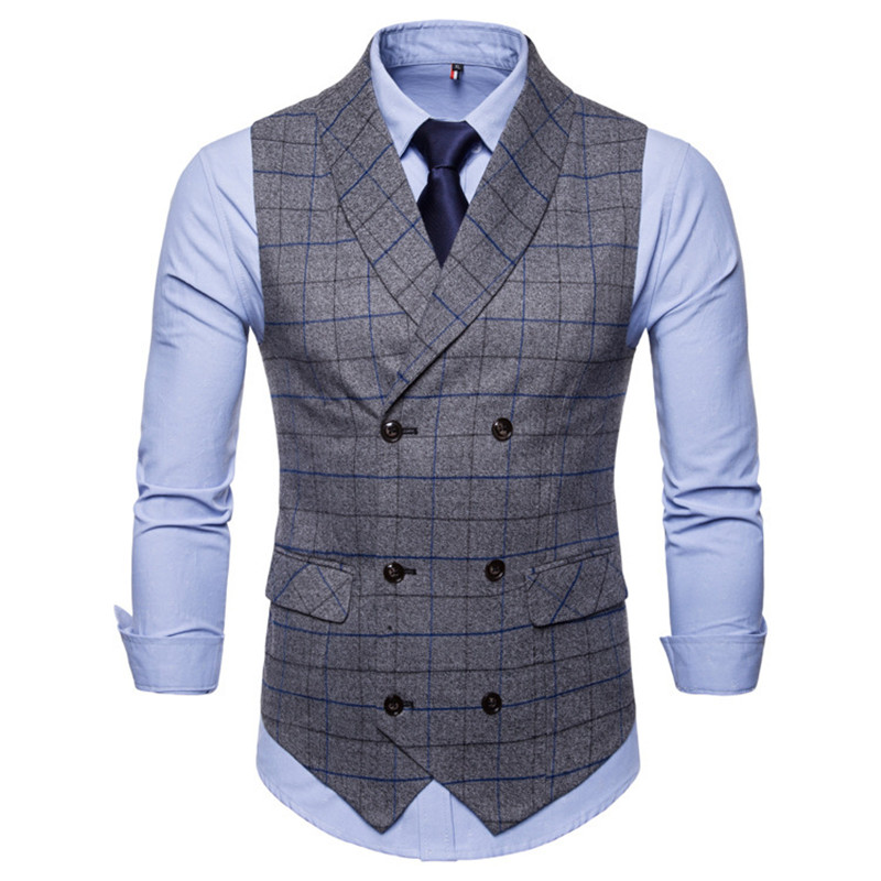 New 2020 Checkered Suit Men Vest Double Breasted Sleeveless Jacket Vests For Men Waistcoat Vintage Men's Vest With Lapel Gilet H