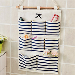 Hanging Organizer with Pockets Fabric Wall Mounted Sundries Storage Bag Waterproof Home Cloth Closet Organizing Bags(China)