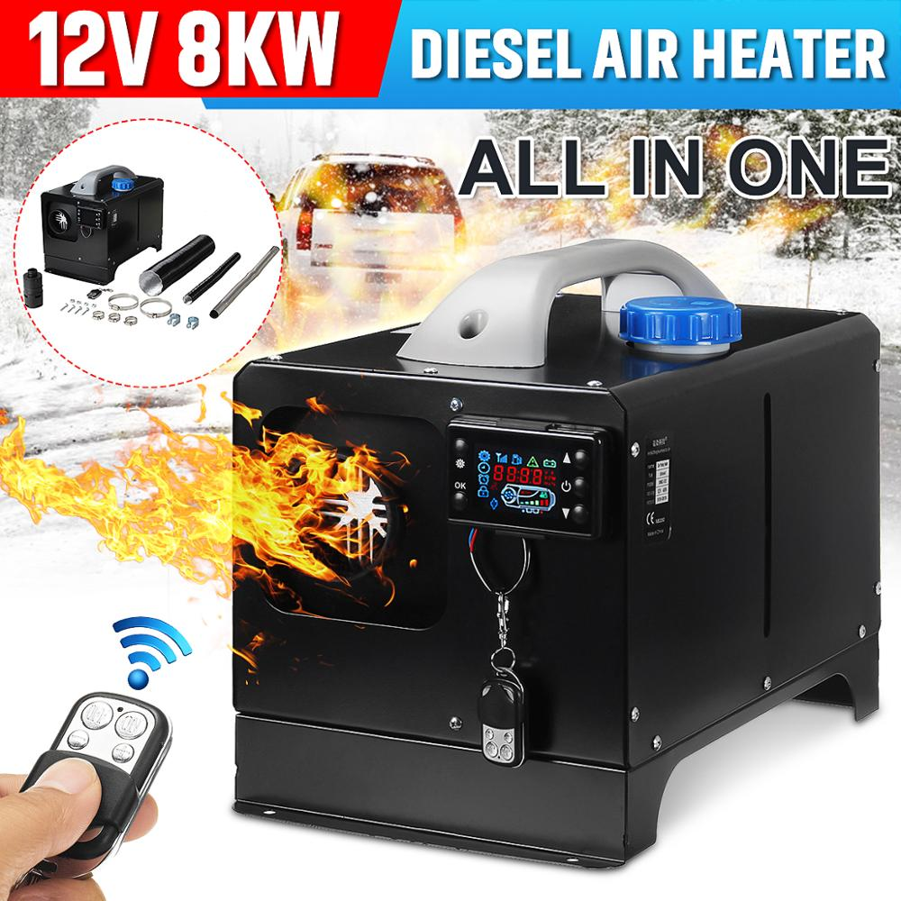 All In One 8000W Mini Diesel Air Heater 8KW 12V One Hole Car Heater For Trucks Motor-Homes LCD /Button Remote New Arrival 2019