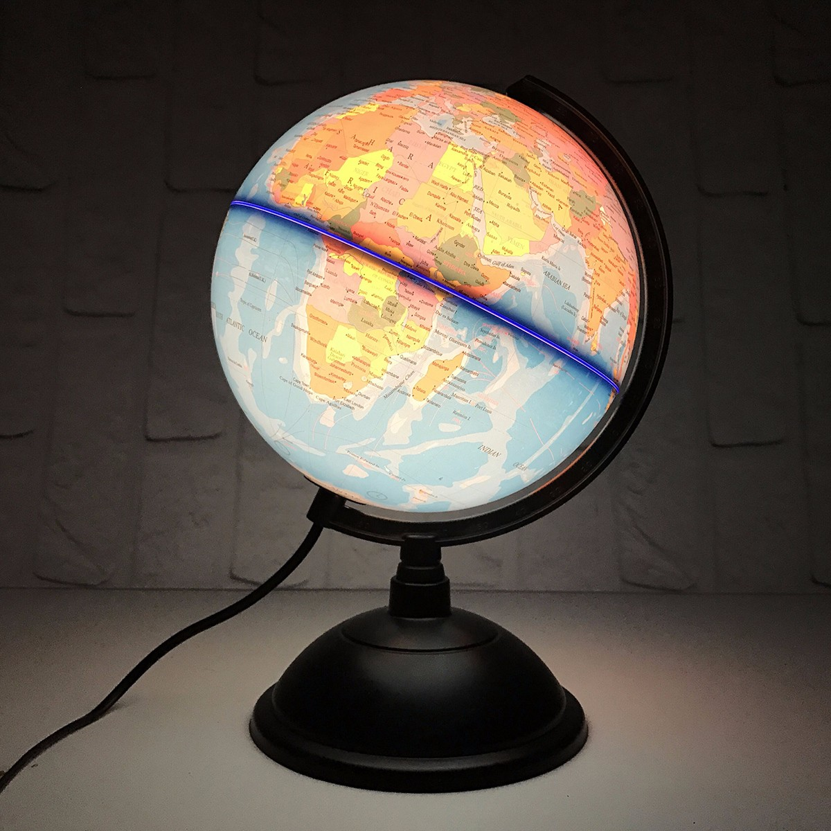 20cm LED World Globe Earth Tellurion English Map Rotating Stand Geography Educational Toys Home Office Desktop Decorations