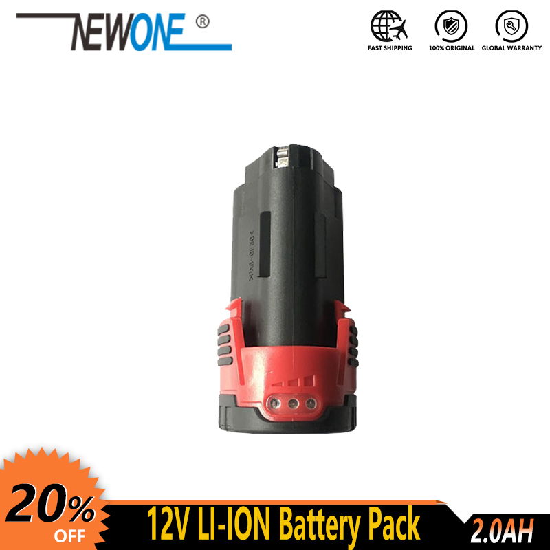 NEWONE 12V Lithium Battery 2000mAh Compatible With Drill, Angle Grinder, Polisher, Reciprocating Saw, Lawn Mower, Etc.