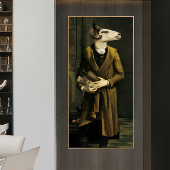 Countess of Goats Fun Classical Paintings Printed on Canvas 3
