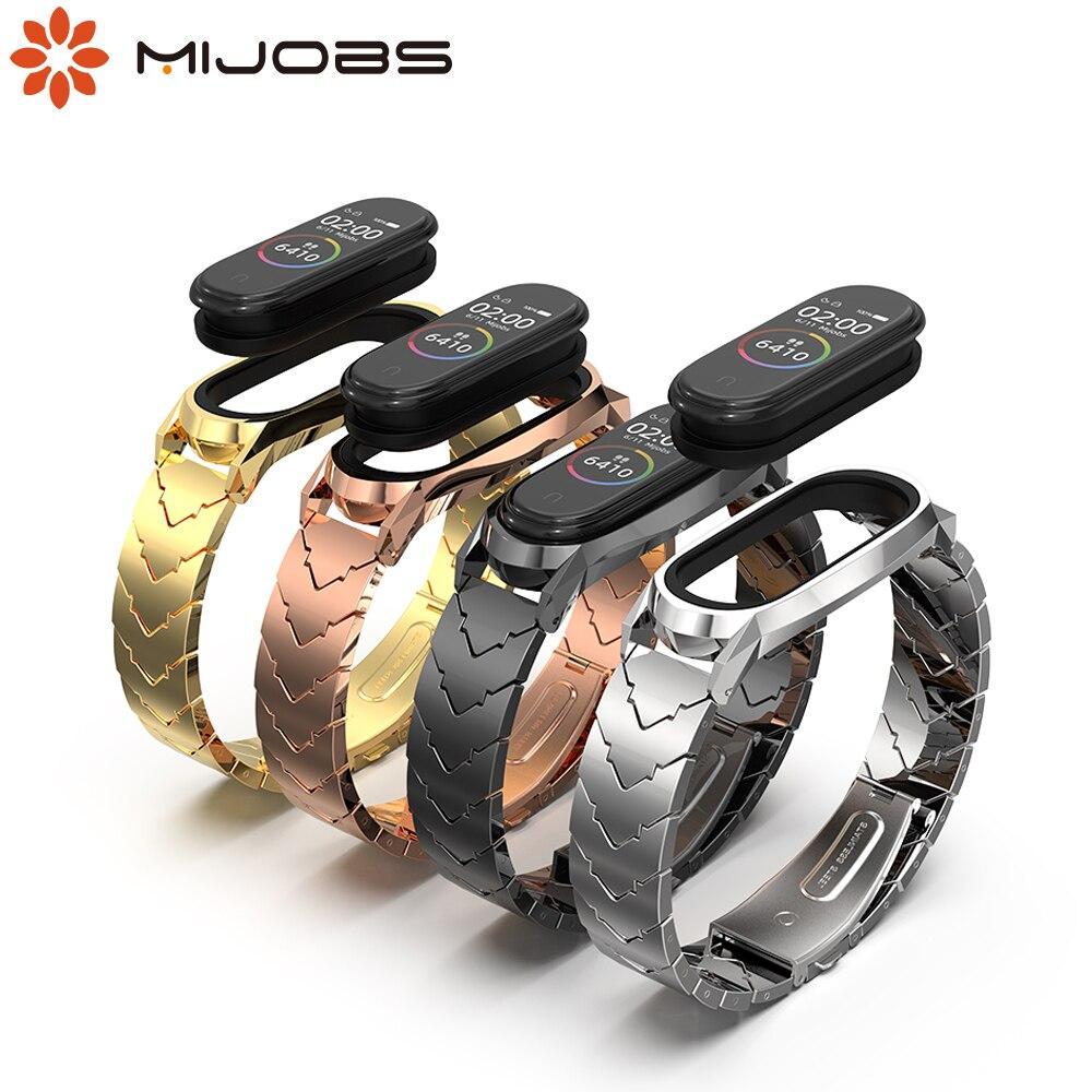 Strap For Xiaomi Mi Band 4 Metal Wrist Bracelet For Mi Band 3 Strap Screwless Stainless Steel Wristbands For Mi Band 3 4 Correa
