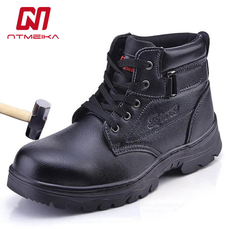Mens Genuine Leather Safety Shoes Steel Toe Dustproof Outdoor Work Safety Boots Men Big Size 36-46 MB278