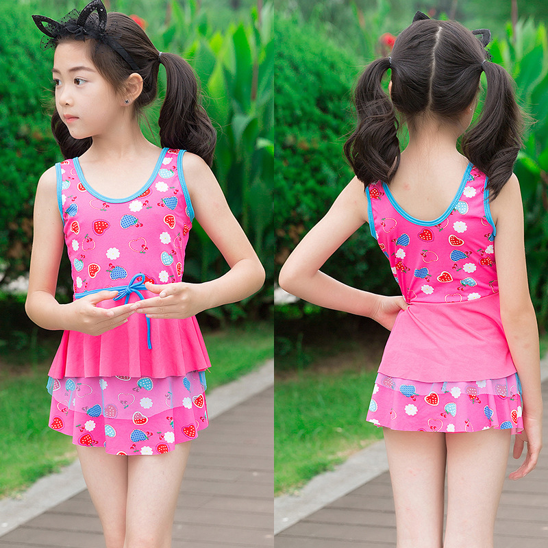 Girls Split Type Swimsuit Korean-style Slim Fit Boxer Fashion Printed Cute Princess Dress-Little Girl Swimwear