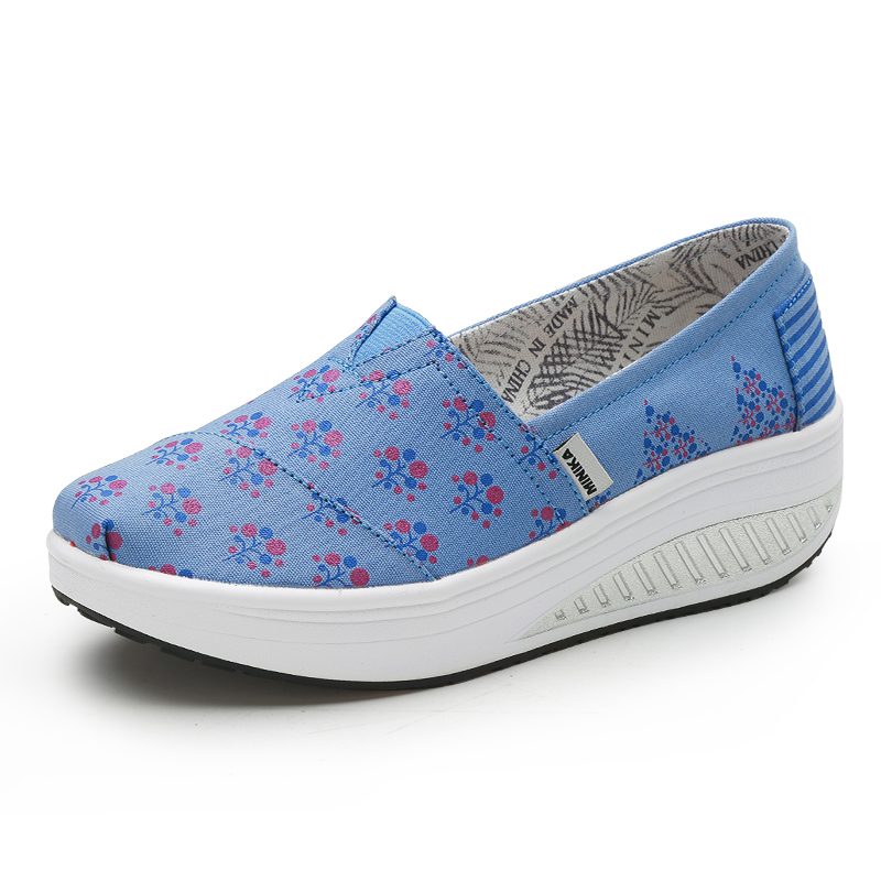 Women Slimming Toning Shoes Sport Slip on Ladies Walking Canvas Sneakers Blue Women Thick Bottom Increase Fitness Shoes