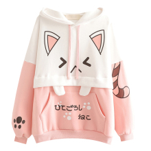 Harajuku Kawaii Women Cute Hoodie Black Pink Long Sleeve Graphic Cat Ear Funny Anime Teen Girls Pullover Vintage Sweatshirt 2020