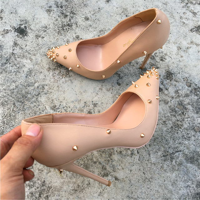 Keshangjia brand fashion new pointed nude high-heeled exquisite rivet shoes 12cm high heel ladies party shoes