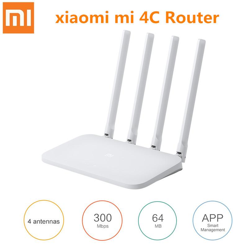 Xiaomi Mi WIFI Router 4C Roteador APP Control 64 RAM 802.11 B/g/n 2.4G 300Mbps 4 Antennas Wireless Routers Repeater For Home