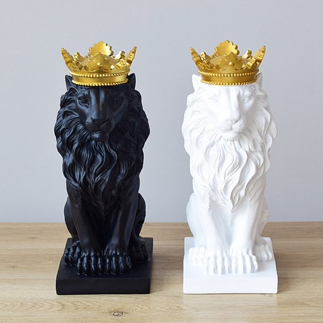 Abstract Crown Lion Sculpture Home Office Bar Male Lion Faith Resin Statue Model Crafts Ornaments Animal Origami Art Decor Gift 2