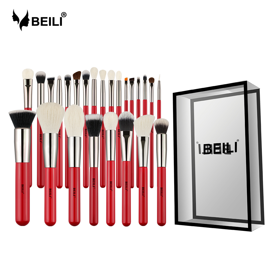 BEILI Red 25pcs Professional Natural Hair Makeup Brushes Set Powder Foundation Blusher Eye Shadow Eyebrow Lip Eyeliner Contour