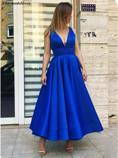 Royal Blue Satin   Prom     Dresses   2019 Long Ankle -Length Zipper Back Sexy Formal Evening Gown Party   Dresses   Vestidos De Festa Cheap