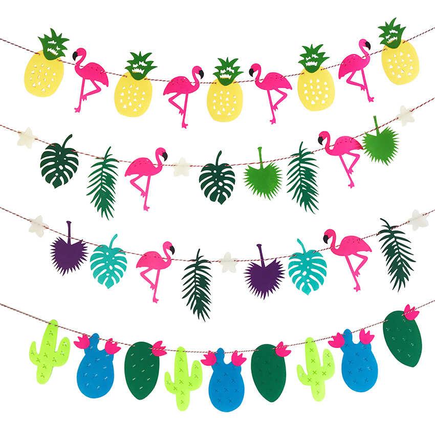 Fotoğraf Prop flamingolar ananas yaprağı Garland Bunting Banner bebek duş düğün doğum günü yaz hawaii tropikal parti dekor