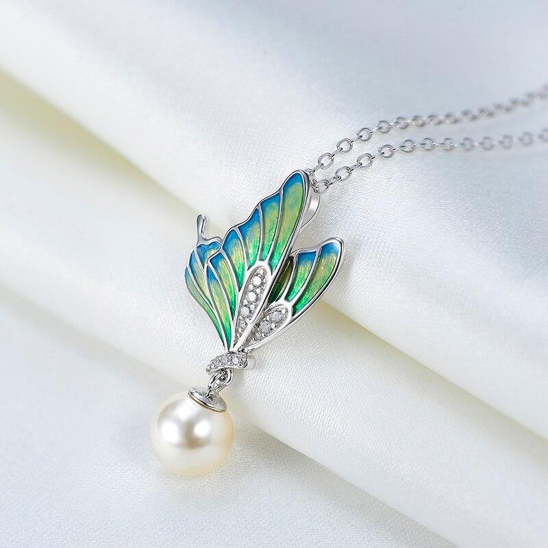 Nouveauté femmes peinture à l'huile papillon charmes collier argent 925 lien chaîne collier bijoux femmes argent Mujer accessoires