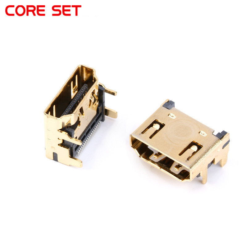 10PCS HDMI FEMale Jack/socket Connector 19PIN 19P Right Angle Smt Smd 90 Degree Gold-Plated Hd 19 PIN