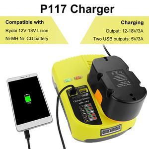 Image 4 - Cargador P117 para Ryobi, 12V 18V, cargador de batería Dual de iones de litio ni cad Ni Mh, fuente de alimentación máxima de 12V a 18V