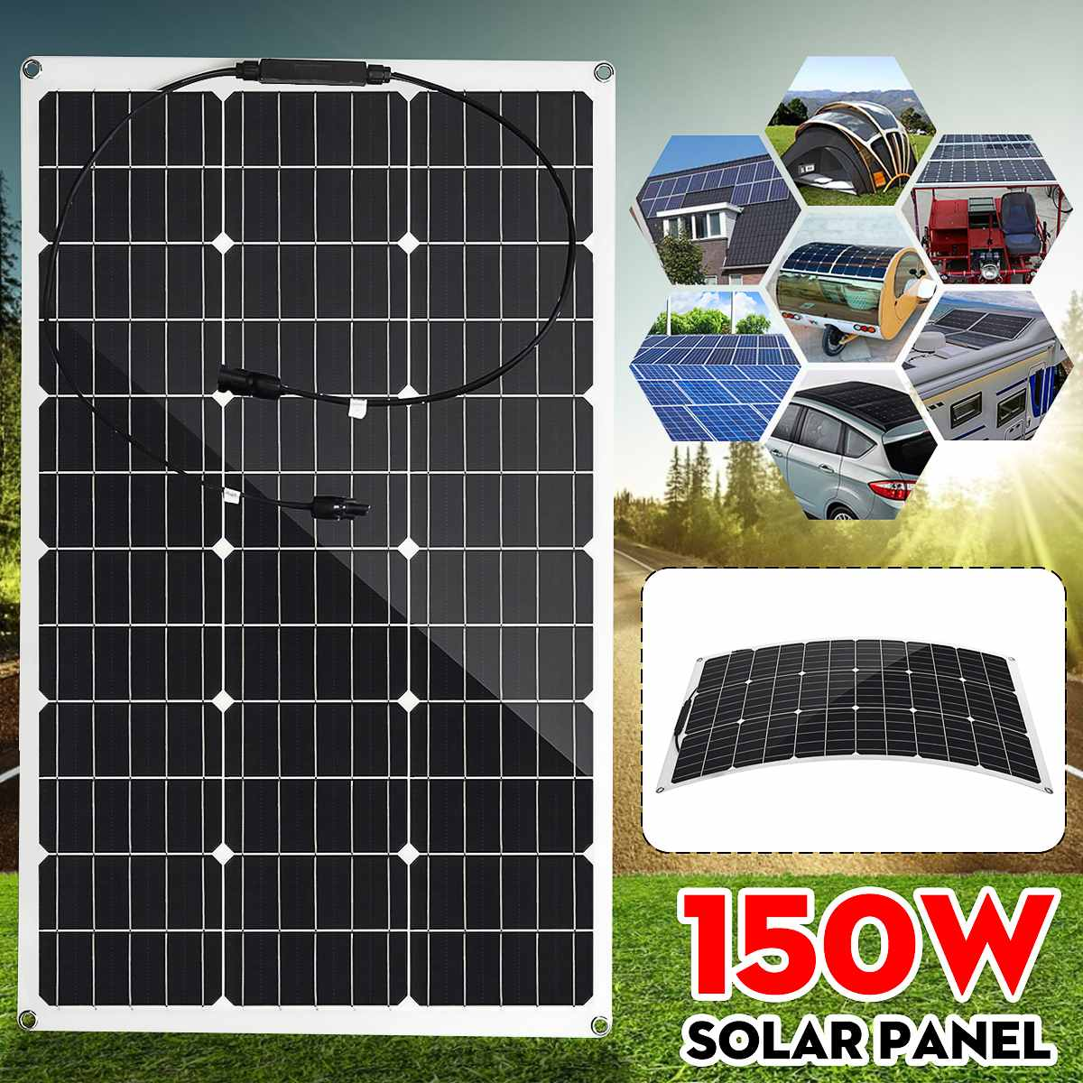 <font><b>150W</b></font> Semi-flexible <font><b>Solar</b></font> <font><b>Panel</b></font> 18V Monocrystalline <font><b>Solar</b></font> Cell DIY Module Cable Outdoor Connector Battery Charger Waterproof image