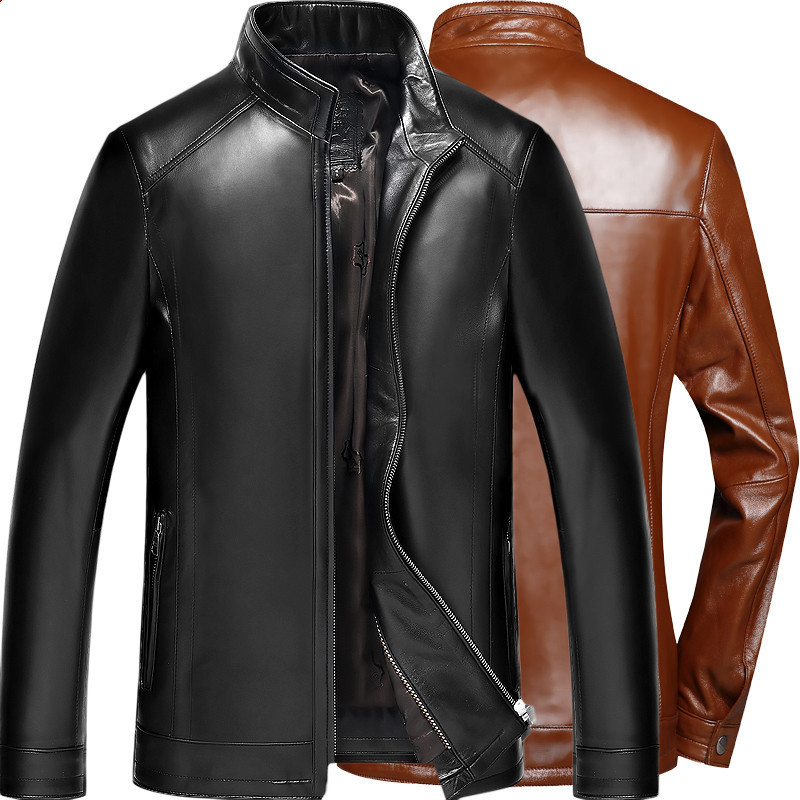 Genuine Leather Jacket Men Motorcycle Sheepskin Coat Spring Autumn Plus Size Leather Jackets 2020 14BAQ00014007 KJ2251
