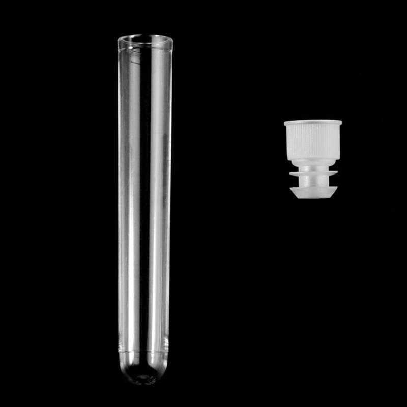100 قطعة من البلاستيك الشفاف أنابيب الاختبار مع أغطية لولبية بيضاء عينة حاويات زجاجات دفع قبعات 12X75mm