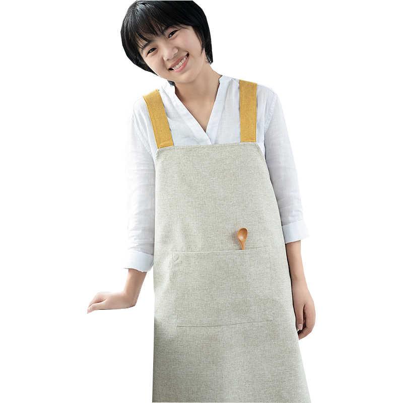 مريلة مطبخ مآزر اللوحة العمل القطن الكتان النمط العام مطبخ زهرة متجر المئزر للرجال النساء المئزر