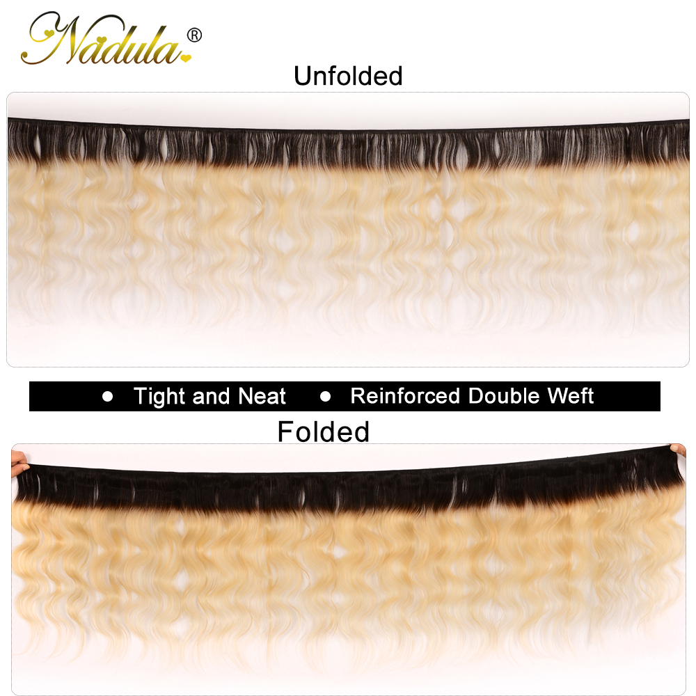 Nadula Hair  Body Wave Hair Bundles With Lace Frontal 3 Bundles T1b/613 Hair 13*4  Bundles With Closure 2