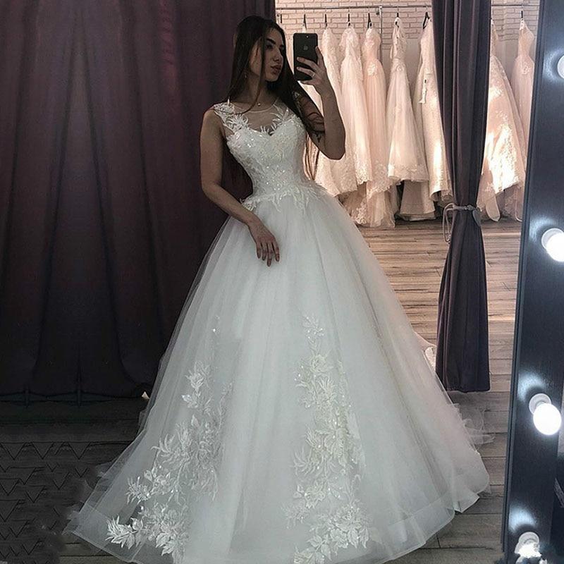 Eightale Wedding Dresses 2020 O-Neck Appliques Lace Custom Made Vintage Wedding Gowns Princess Bride Dresses