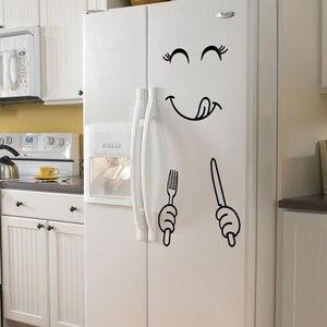 Image 3 - Autocollants muraux avec visage souriant, nouveau, autocollants délicieux, pour réfrigérateur, pour aliments, affiche artistique de décoration, DIY bricolage, 4 Styles