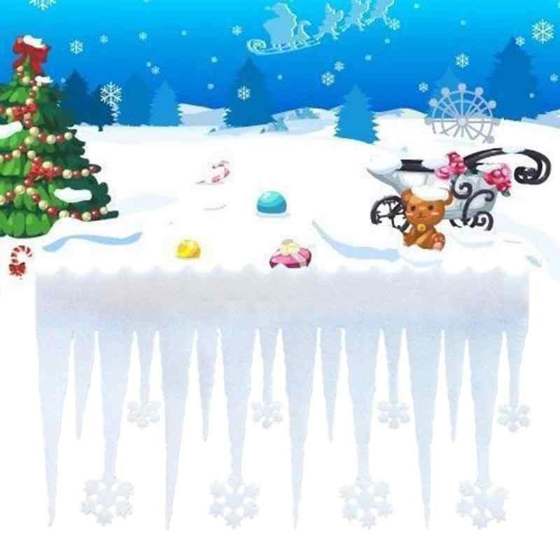 Tahun Baru 2020 2 Pcs Busa Putih Salju Ice Strip Kepingan Salju Natal Dekorasi Toko Jendela Pintu Pesta Ornamen