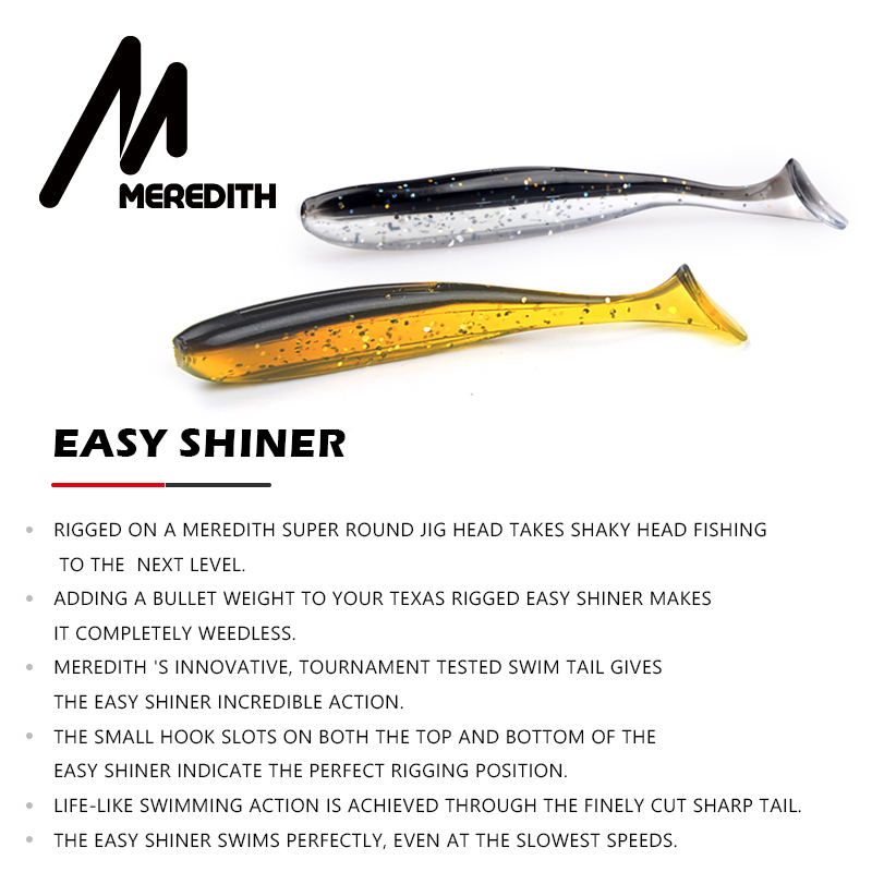 MEREDITH Easy Shiner 50mm 75mm 100mm 130mm Jig Swimbait Artificial Double Color Silicone Soft Bait Carp Bass Lures