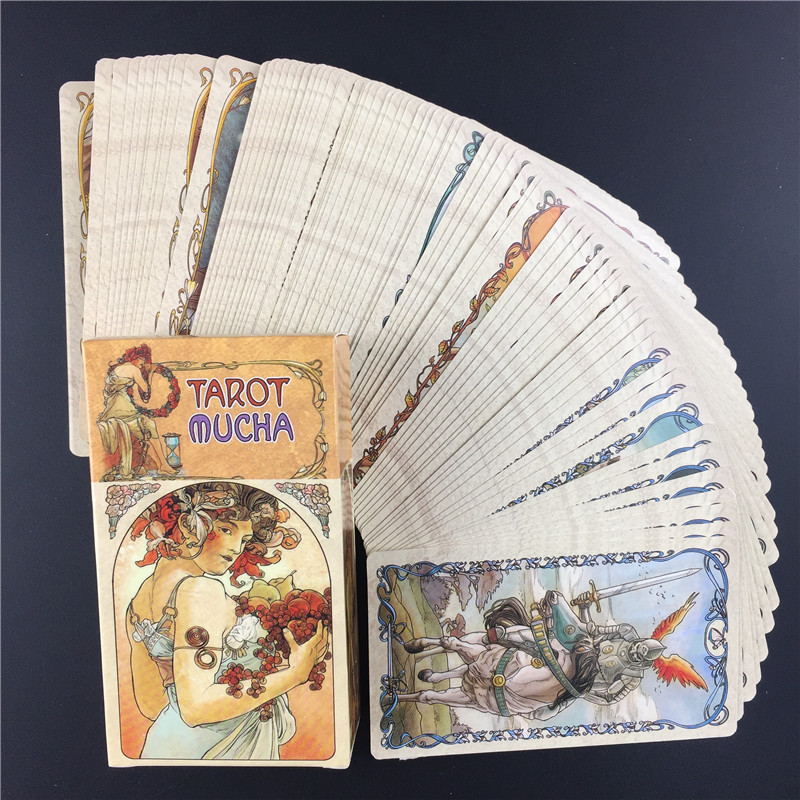 English Tarot Mucha Tarot Cards Deck Funny Family Board Game Playing Game Cards Party Games