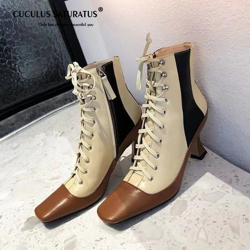 CUCULUS 2020 Autumn and Winter New Type Female Leather Belt Duck-billed Boots, High-heeled Smoking Boots 2013