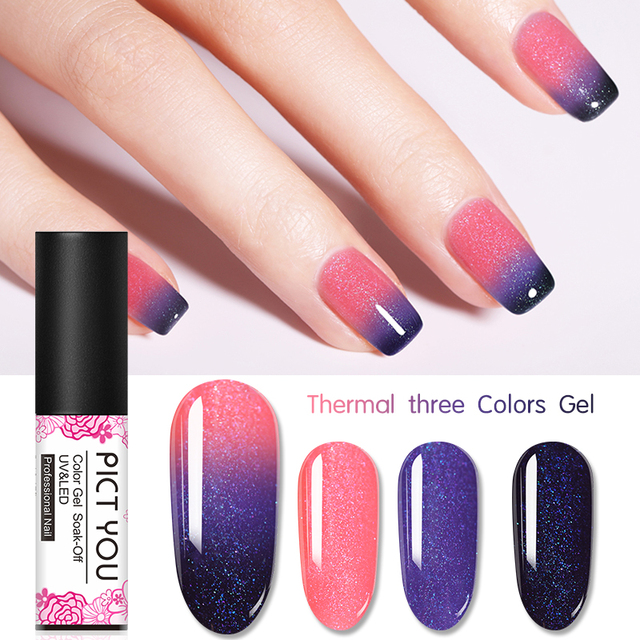 1 Bottle PICT YOU Color Changing Nail Gel Three Colors Soak Off Gel Polish Thermal Gel Temperature Change Nail Gel 4