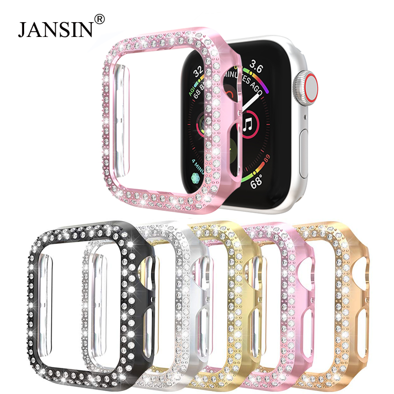 Double Rows Diamond Watch Case For Apple Watch Case 38mm 42mm 40mm 44mm Band PC Screen Protector Cover For IWatch Series 5 4 3 2