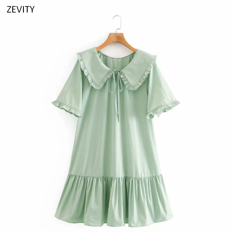 Zevity women sweet agaric lace peter pan collar solid color casual mini dress female short sleeve pleated ruffles dresses DS3987