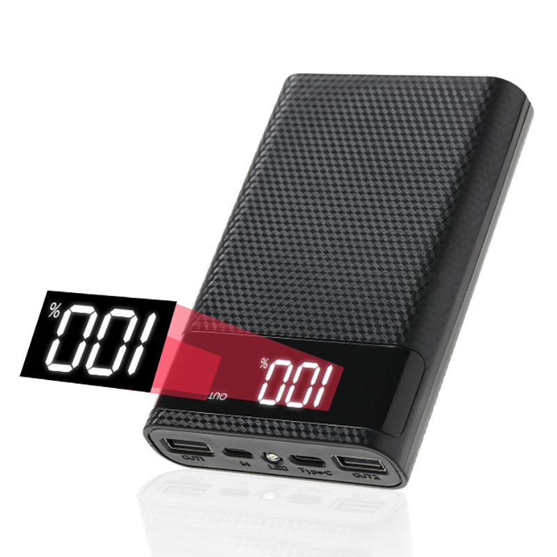 Power Bank Shell for Micro Type-c 4*18650 Battery Charge Box Digital Display Powerbank Case Shell Ch