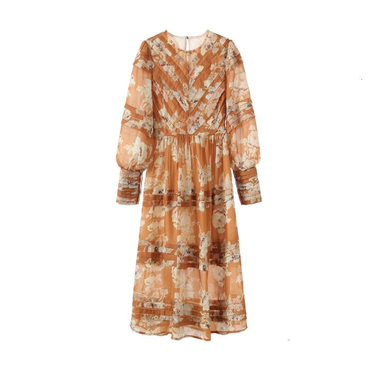 2019 herfst retro platter jurk hoge taille seaside vakantie jurk print jurk lange vrouwelijke zomer - 4