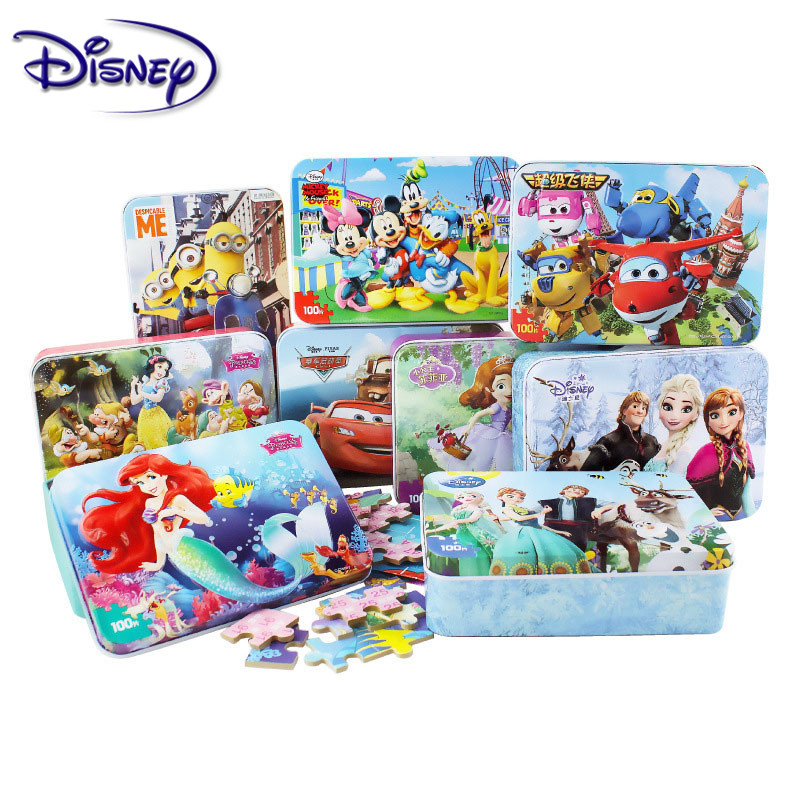 Disney Frozen Mickey Minnie Mouse Sofia Mermaid Duck Puzzle 100 Pieces Learning Educational Interesting Wooden Toys For Children