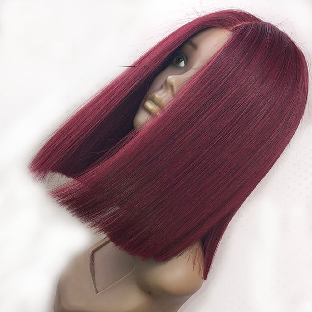 Eversilky Transparent Burgundy 13x4 Lace Front Human Hair Wig With Baby Hair Brazilian Remy PrePlucked 99j Red Short Bob Straigt