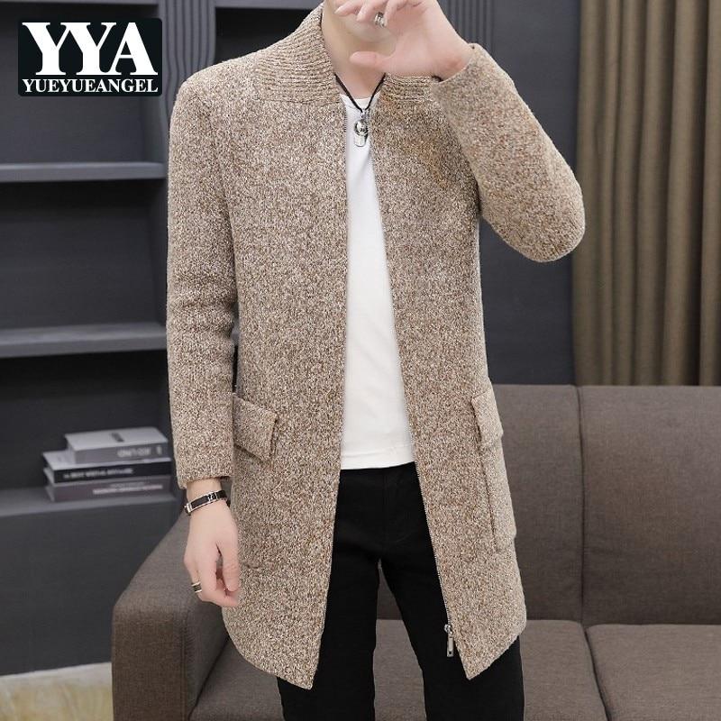 Mens Winter Thick Fleece Liner Mens Knintting Cardigan Casual Long Sleeve Zipper Pockets Male Medium Length Outerwear Plus Size