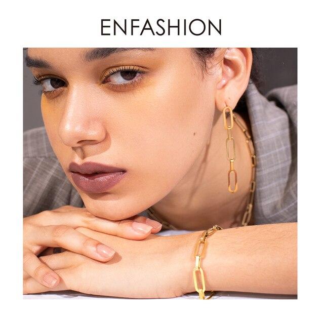 enfashion панк звено цепи браслет для мужчин золотой цвет нержавеющая фотография