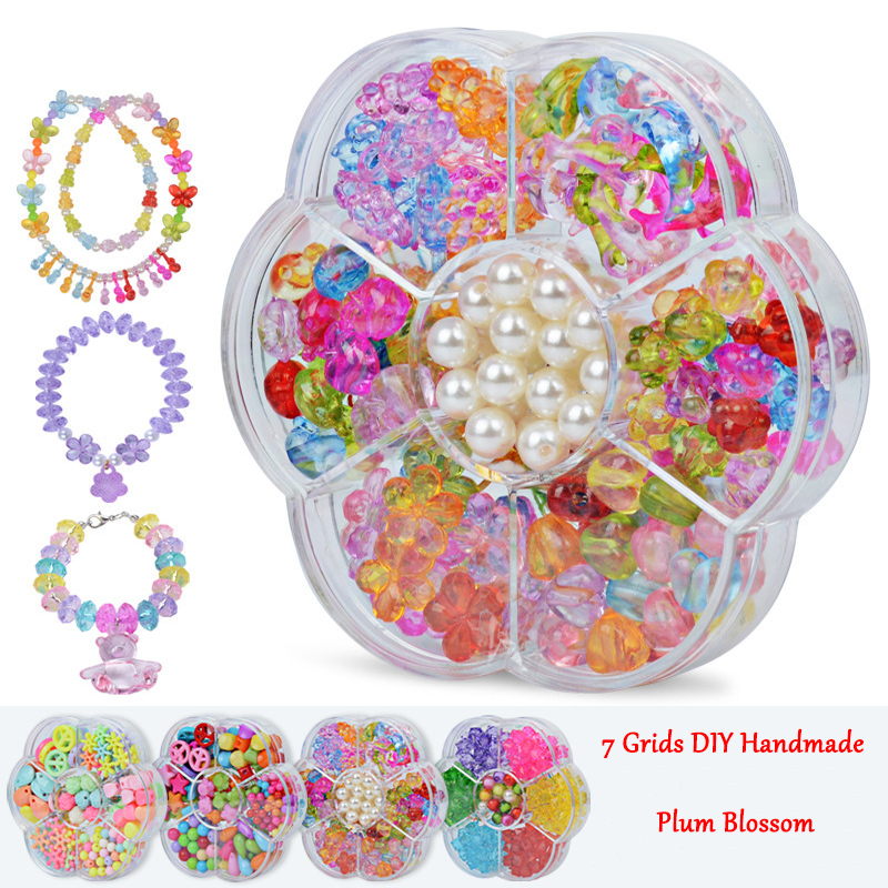 Diy Acrylic Bead Kit With 7 Grids Plastic Box Handmade Jewelry Beads Set Necklaces Bracelet Making Educational Toy For Children