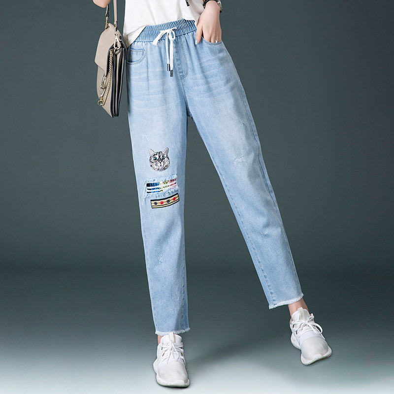Jeans Women's 2019 Spring And Summer New Style Korean-style Faded Drawstring Sequin Trend Capri Jeans Fashion Casual Pants