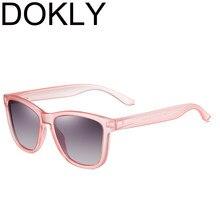 Dokly marca legal moda feminina rosa quadro quadrado polarizado óculos de sol masculino e feminino óculos de sol uv400
