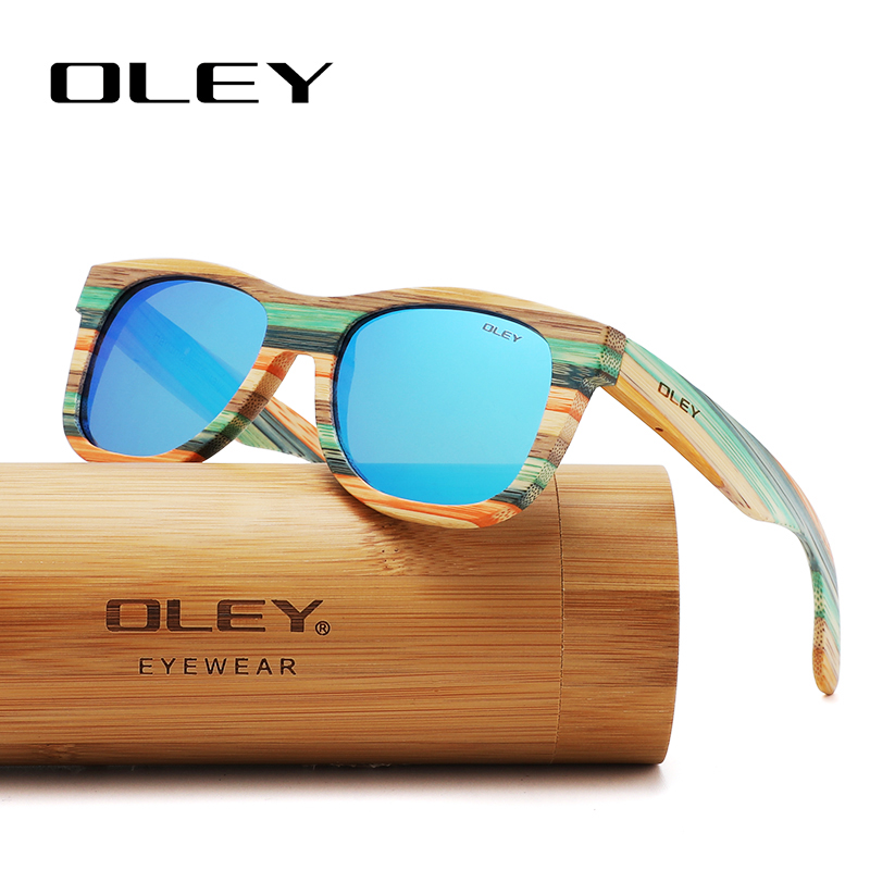 OLEY 2020 Bamboo Sunglasses Men Women Polarized Mirror Full Frame Wood Shades Goggles Handmade Support Custom Logo Y5915