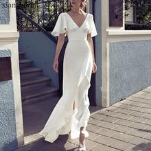 Вечерние платья из белого сатина и шелка, облегающее летнее платье с v-образным вырезом и коротким рукавом, пляжная одежда в стиле бохо, модная одежда Vestidos