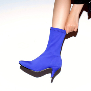Image 3 - Soft Slim Stretch Socks Boots Women Fashion Rose Blue Heeled Womens Ankle Boots Autumn Spring Pointed Toe Womens Shoes Big Size
