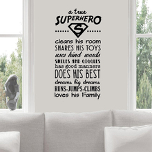 Superhero Rules Vinyl Wall Sticker Kids Playroom Decor Babys Motivational Quote Wall Decals Home Rules Sign Wall Poster