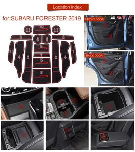 Image 5 - Front Back Door Slot Pad Mat Cup Holders Mats Armrest Storage Box Pad for Subaru Forester 2019 2020 Car Interior Accessories