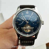 Parnis watch clock 43mm Blue dial silver stainless steel case Power Reserve Automatic movement mens Watch