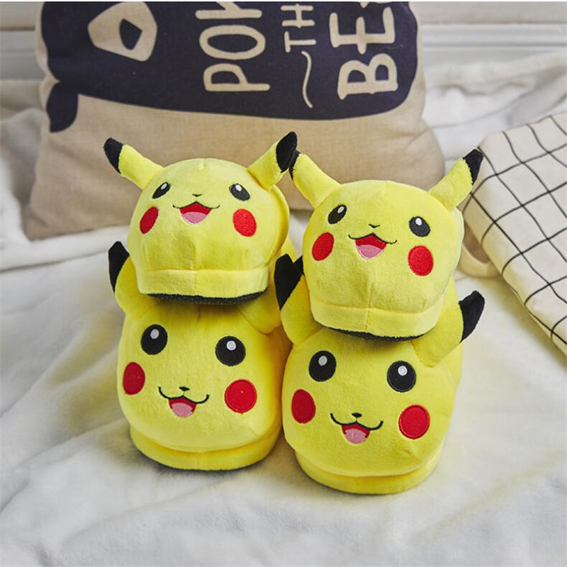 Hot New Japan Anime Pikachu Pokemon Shoes Cosplay Adult Kids Keep Warm Cotton Slipper Shoes